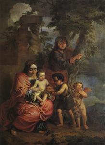 De H. Familie met de H.  Johannes de Doper als kind, die een druiventros brengt