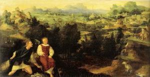 Landschap met Tobias, die op aanwijzing van de engel een vis vangt (Tobit 4-6)