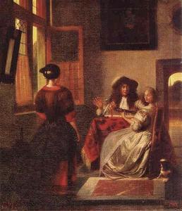 Musicerend paar en dienstmeid in een voornaam interieur