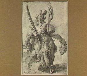Minerva met het wapenschild van het Lukas-gilde