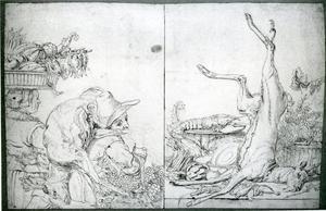 Links: boeren echtpaar op weg naar de markt; rechts: stillleven met wild, gevogelte, fruit en groente op een tafel