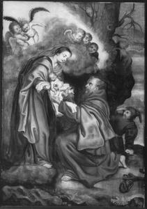 De H. Franciscus van Assisi ontvangt het Christuskind uit handen van Maria