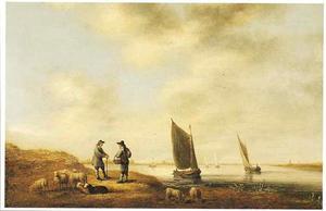 Rivierlandschap met mensen en schapen op de oever