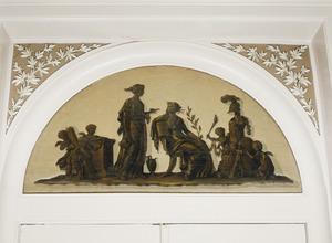 Rustende Minerva en haar dienstbode omgeven door putti die met Minerva's wapenuitrusting spelen