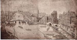 Het Rokin met de Langebrug te Amsterdam