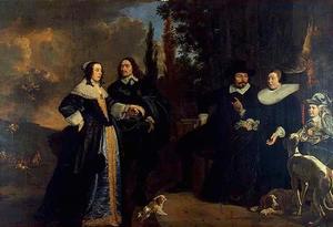 Portret van een familie, mogelijk Willem Visch (....-1668), Eva Bisschop (1600-1684), Laurentia Visch (1627-1672), Adriaen Prins (1625-1668) en Willem Prins (1655-1692)