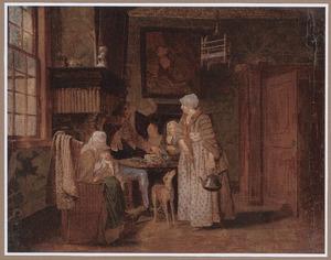 Interieur met een familie rond de tafel