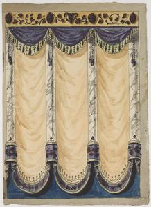 Ontwerp voor een wanddecoratie met draperieën