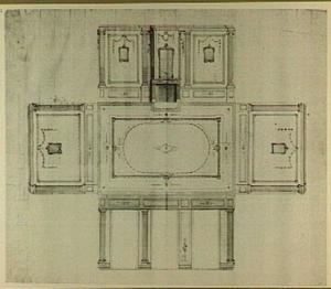 Ontwerp voor de decoratie van de wanden en het plafond van een vertrek