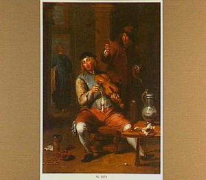 Interieur met een viool spelende man