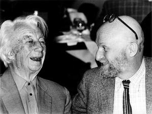 Portret van Willem Sandberg en Pierre Alechinsky