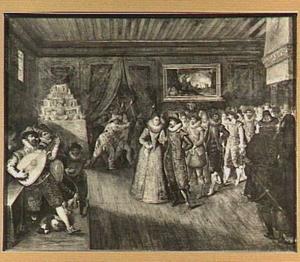 Het bruiloftsfeest; op de achtergrond Lot en zijn dochters