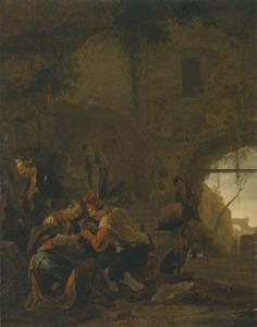 Kaartspelers bij een trap in een ruïne