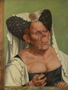Portret van een groteske oude vrouw