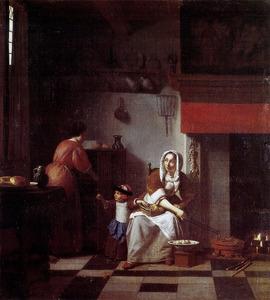 Keukeninterieur met jonge vrouw, kind en dienstmeid