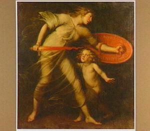 Allegorische vrouwenfiguur met schild en zwaard : Psalm 90:5 (Vulgata)
