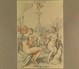 """Allegorie op het devies van Goltzius """"Eer boven golt"""""""
