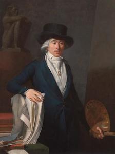 Zelfportret van Jean-Baptiste-Pierre Le Brun (1748-1813), in zijn atelier