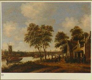 Herberg aan een rivieroever, met in de verte een gezicht op Leiden