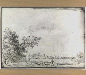 Landschap met boerderijen in Noord-Holland