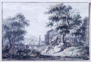 Een visser en rustende figuren bij een boom in een landschap