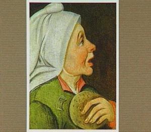 Kop van een vrouw met een pannenkoek