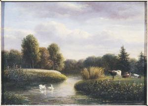 Landschap met vijver bij Nieuweroord te Hilversum