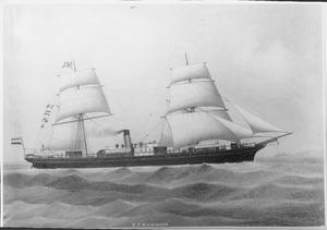 Het stoomschip 'Mackinnon' van de Nederlandsch Indische Stoomvaartmaatschappij