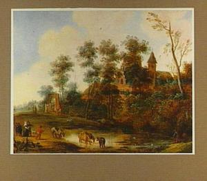 Landschap met elegant gezelschap en een herder met koeien bij een wed; op de achtergrond een landhuis