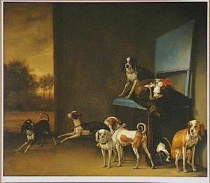 Groep honden op en rond een stoel in een ruimte met een doorkijk naar een landschap