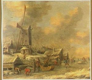 Winter; landschap met ijsvermaak bij een windmolen