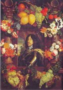 Portret van Koning Frederik III van Denemarken (1609-1670) met omlijsting van bloemen en vruchten