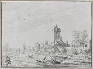 De westelijke stadswal van Utrecht met de Smeetoren