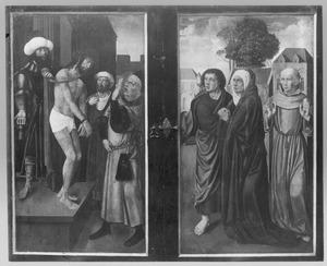 Ecce Homo (buitenzijde links);  Maria met Johannes de Evangelist en de H. Franciscus (buitenzijde rechts)