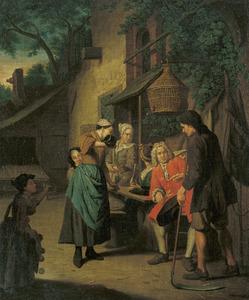 Gezelschap voor een herberg met een waardin die een glas wijn inschenkt voor een heer die luistert naar een boer met een zeis in de hand