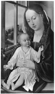 Maria met kind, met een vrucht en een lelie in de hand, zittend bij een venster