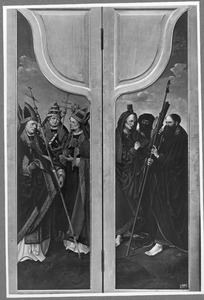 De kerkvaders Ambrosius, Gregorius en Augustinus (links), de apostelen Bartholomeüs, Andreas en Thomas (rechts)