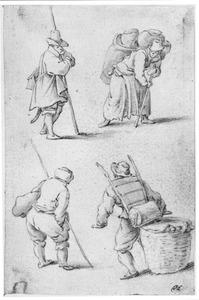 Drie mannen en een korfdraagster