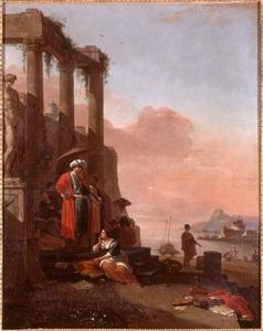 Zuidelijk kustgezicht met figuren bij een ruïne