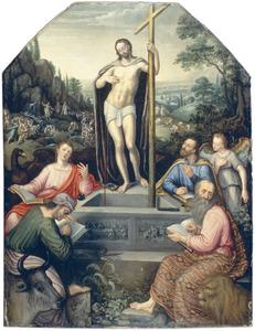 De verrezen Christus als de Bron des Levens omringd door de vier evangelisten; op de achtergrond scènes uit het Oude Testament