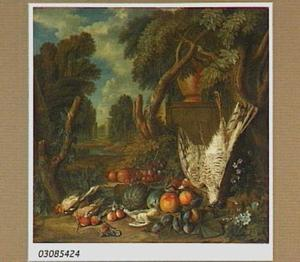 Stilleven met dode vogels en vruchten in een parklandschap