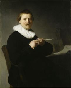Portret van een man die zijn pen versnijdt