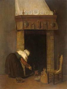 Interieur met vrouw bij haard
