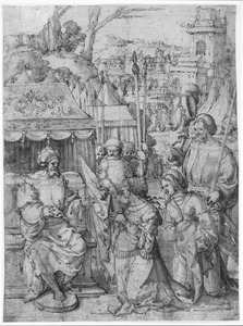 Judith en haar dienstmaagd knielen voor Holofernes in het tentenkamp