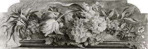 Bloemstilleven in een rieten mand op een piëdestal