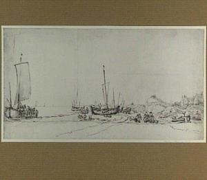 Strandgezicht met vissersschepen
