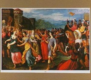 De triomf van David met het hoofd van Goliath  (1 Samuel 17:54)