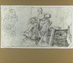 Vrouw die een man drank schenkt en een vrouw met een kind in een mand