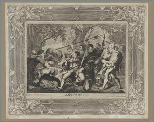 Een gezelschap dronken soldaten en vrouwen voor een herberg: episode uit de geschiedenis van Don Quichot