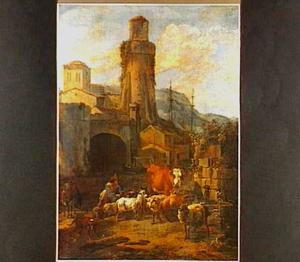 Landschap met een herder en zijn kudde bij een stadspoort